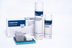POS Rauhleder Set - Nubuk Radierer, Schleifpad, Rauhlederpflege 400 ml, Imprägnierung 200 ml